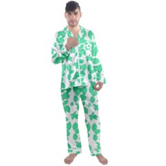 Botanical Motif Print Pattern Men s Satin Pajamas Long Pants Set