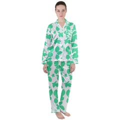 Botanical Motif Print Pattern Satin Long Sleeve Pyjamas Set