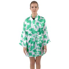 Botanical Motif Print Pattern Long Sleeve Kimono Robe
