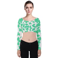 Botanical Motif Print Pattern Velvet Long Sleeve Crop Top