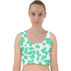 Botanical Motif Print Pattern Velvet Racer Back Crop Top
