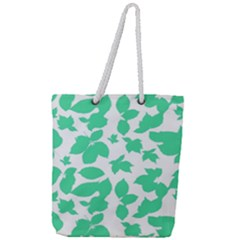Botanical Motif Print Pattern Full Print Rope Handle Tote (Large)
