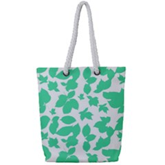 Botanical Motif Print Pattern Full Print Rope Handle Tote (Small)