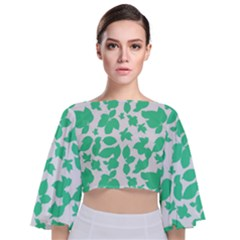 Botanical Motif Print Pattern Tie Back Butterfly Sleeve Chiffon Top