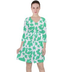 Botanical Motif Print Pattern Ruffle Dress