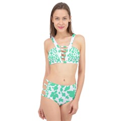Botanical Motif Print Pattern Cage Up Bikini Set