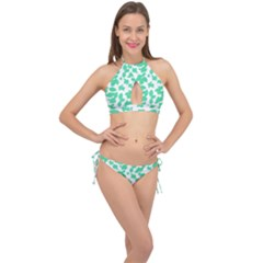 Botanical Motif Print Pattern Cross Front Halter Bikini Set