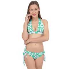 Botanical Motif Print Pattern Tie It Up Bikini Set