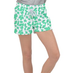 Botanical Motif Print Pattern Women s Velour Lounge Shorts