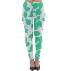 Botanical Motif Print Pattern Lightweight Velour Leggings