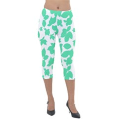 Botanical Motif Print Pattern Lightweight Velour Capri Leggings
