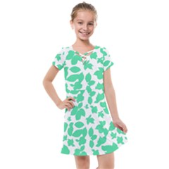 Botanical Motif Print Pattern Kids  Cross Web Dress