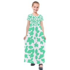 Botanical Motif Print Pattern Kids  Short Sleeve Maxi Dress