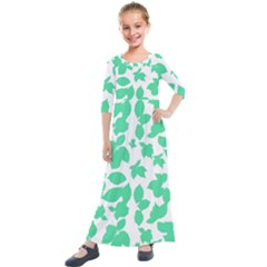 Botanical Motif Print Pattern Kids  Quarter Sleeve Maxi Dress