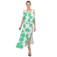 Botanical Motif Print Pattern Maxi Chiffon Cover Up Dress