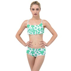 Botanical Motif Print Pattern Layered Top Bikini Set