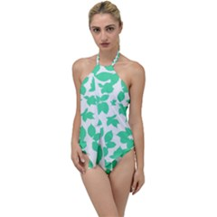 Botanical Motif Print Pattern Go with the Flow One Piece Swimsuit