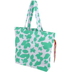 Botanical Motif Print Pattern Drawstring Tote Bag