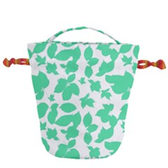Botanical Motif Print Pattern Drawstring Bucket Bag
