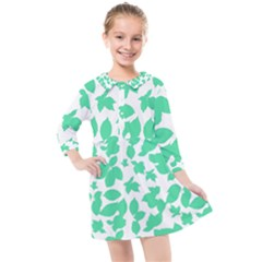 Botanical Motif Print Pattern Kids  Quarter Sleeve Shirt Dress