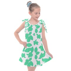 Botanical Motif Print Pattern Kids  Tie Up Tunic Dress