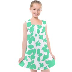 Botanical Motif Print Pattern Kids  Cross Back Dress