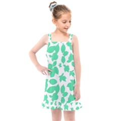 Botanical Motif Print Pattern Kids  Overall Dress