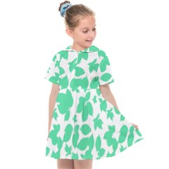 Botanical Motif Print Pattern Kids  Sailor Dress