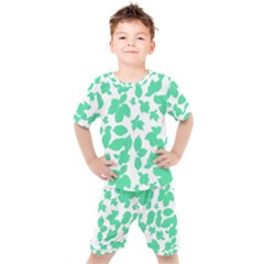 Botanical Motif Print Pattern Kids  Tee and Shorts Set