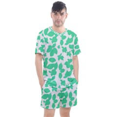 Botanical Motif Print Pattern Men s Mesh Tee and Shorts Set