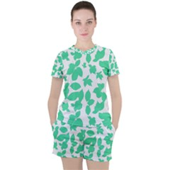 Botanical Motif Print Pattern Women s Tee and Shorts Set