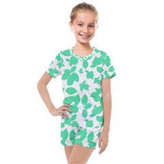 Botanical Motif Print Pattern Kids  Mesh Tee and Shorts Set