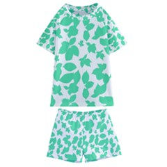 Botanical Motif Print Pattern Kids  Swim Tee and Shorts Set