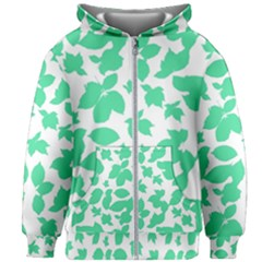 Botanical Motif Print Pattern Kids  Zipper Hoodie Without Drawstring