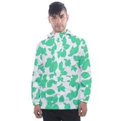 Botanical Motif Print Pattern Men s Front Pocket Pullover Windbreaker