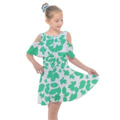 Botanical Motif Print Pattern Kids  Shoulder Cutout Chiffon Dress