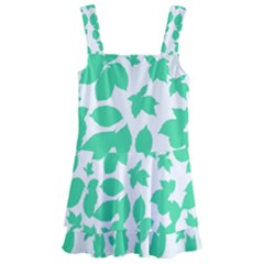Botanical Motif Print Pattern Kids  Layered Skirt Swimsuit