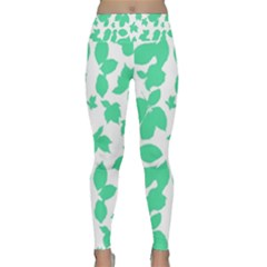 Botanical Motif Print Pattern Lightweight Velour Classic Yoga Leggings