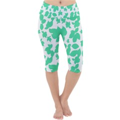 Botanical Motif Print Pattern Lightweight Velour Cropped Yoga Leggings