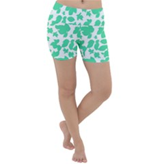 Botanical Motif Print Pattern Lightweight Velour Yoga Shorts