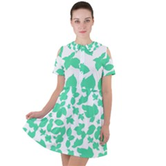Botanical Motif Print Pattern Short Sleeve Shoulder Cut Out Dress