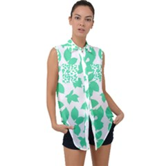 Botanical Motif Print Pattern Sleeveless Chiffon Button Shirt