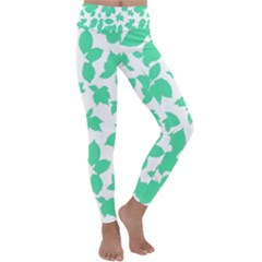Botanical Motif Print Pattern Kids  Lightweight Velour Classic Yoga Leggings