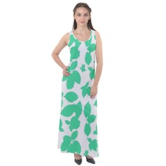 Botanical Motif Print Pattern Sleeveless Velour Maxi Dress