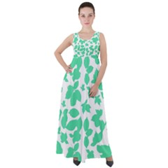 Botanical Motif Print Pattern Empire Waist Velour Maxi Dress
