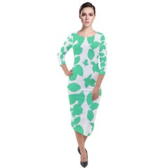 Botanical Motif Print Pattern Quarter Sleeve Midi Velour Bodycon Dress