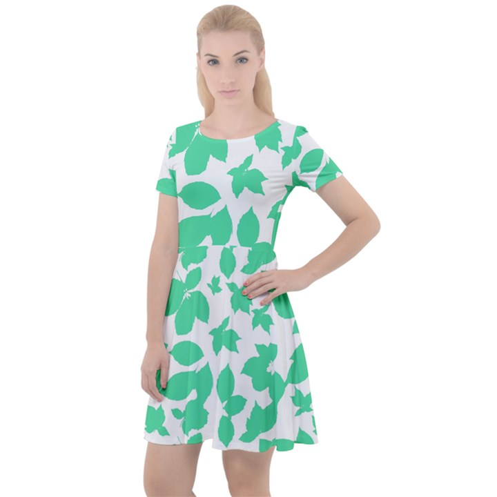 Botanical Motif Print Pattern Cap Sleeve Velour Dress