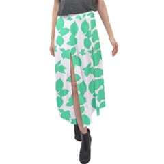 Botanical Motif Print Pattern Velour Split Maxi Skirt