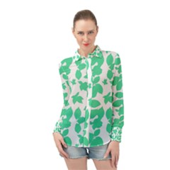 Botanical Motif Print Pattern Long Sleeve Chiffon Shirt