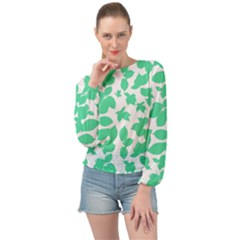 Botanical Motif Print Pattern Banded Bottom Chiffon Top